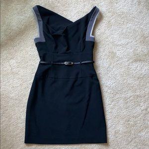 Black Halo Jackie O Belted Mini Dress
